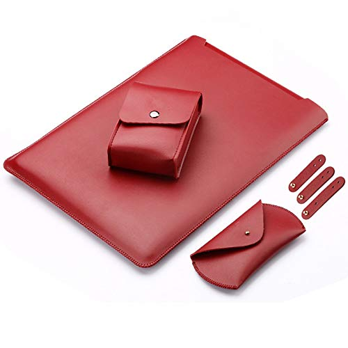 LAPOND 4 in 1 Bundle 13 Inch Laptop Sleeve Case for MacBook Air and MacBook Pro 13.3 Inches (4 in 1 Bundle, Dark Red)