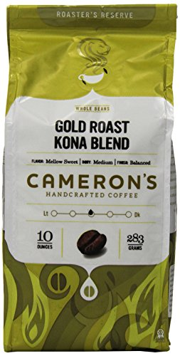 Cameron's Coffee Gold Roast Coffee, Kona Blend, Whole Bean, 10 Ounce
