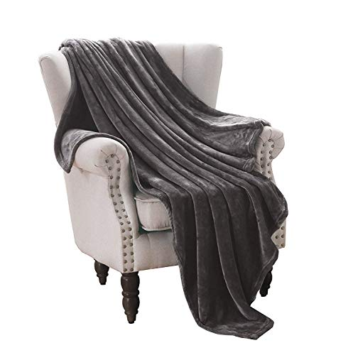 "Price comparison product image Exclusivo Mezcla Luxury Flannel Velvet Plush Throw Blanket – 50"" x 70"" (Grey)"
