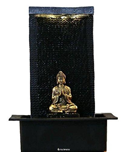 Zimmerbrunnen Innenbrunnen Feng Shui Buddha Zen LED Weiß 42 cm