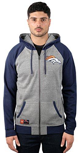 Full Zip Fleece Hoody Sweatshirt (NFL Men's Denver Broncos Full Zip Fleece Hoodie Sweatshirt Jacket Contrast Raglan, X-Large, Gray)