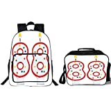 19'' School Backpack & Lunch Bag Bundle,88th Birthday Decorations,Oldies But Goldies Style Celebration Candles Anniversary Art Print,Red White,for Boys Girls