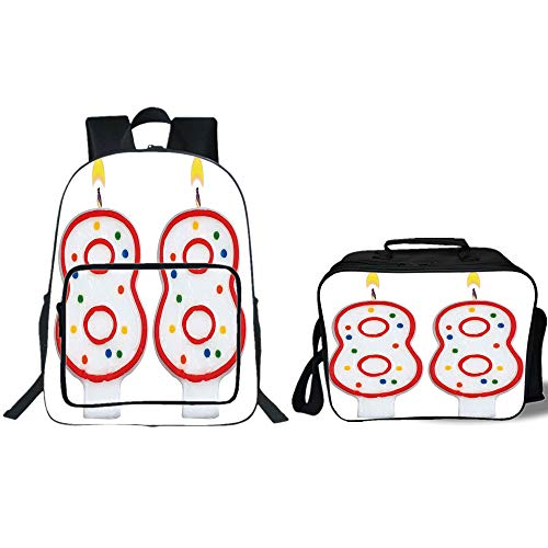 19'' School Backpack & Lunch Bag Bundle,88th Birthday Decorations,Oldies But Goldies Style Celebration Candles Anniversary Art Print,Red White,for Boys Girls by iPrint