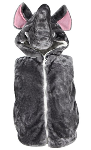 Bioterti Kids' Animal Hooded Vest for Dress Up/Manufacture/16 Amazing Styles (Medium, Elephant) ()
