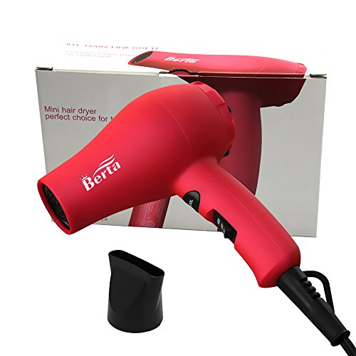 Berta 1000 Watts Mini Hair Dryer Ceramic Ionic Travel Blow Dryer Pink Color US Plug (Hair Blow Dryer Travel)
