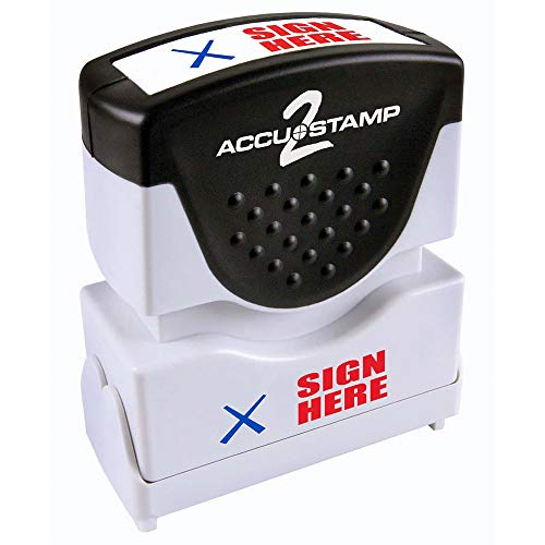 (ACCU-STAMP2 Message Stamp with Shutter, 2-Color, SIGN HERE, 1-5/8