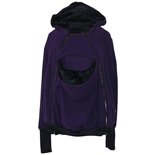 Maternity Sweater Jacket (LAPAYA Women's Maternity Kangaroo Fleece Zip Hooded Sweatshirt For Baby Carriers, Purple, Small)