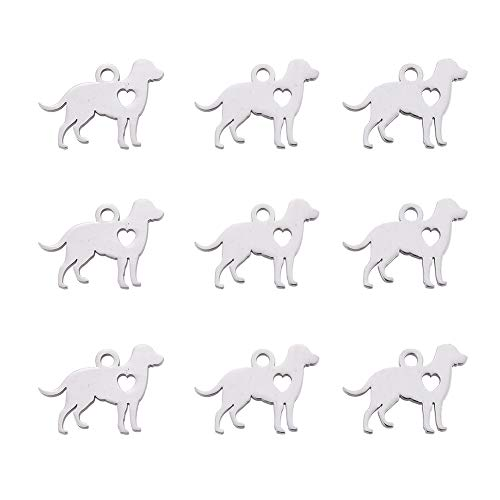 Heart Charms Pendants Findings - DanLingJewelry 304 Stainless Steel Dog with Heart Charm Pendant for DIY Crafting Bracelet Necklace Jewelry Findings Jewelry Making Accessory(Stainless Steel Color-20pcs,11 x 15.5 x 1mm,Hole: 1.5mm)