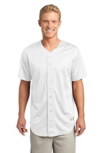 Sport-Tek Men's PosiCharge Tough Mesh Full Button Jersey S White