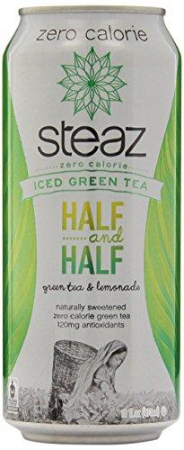Steaz zéro calorie Iced Teaz, moitié-moitié, thé vert avec de la limonade, 12 - Boîtes de 16 onces
