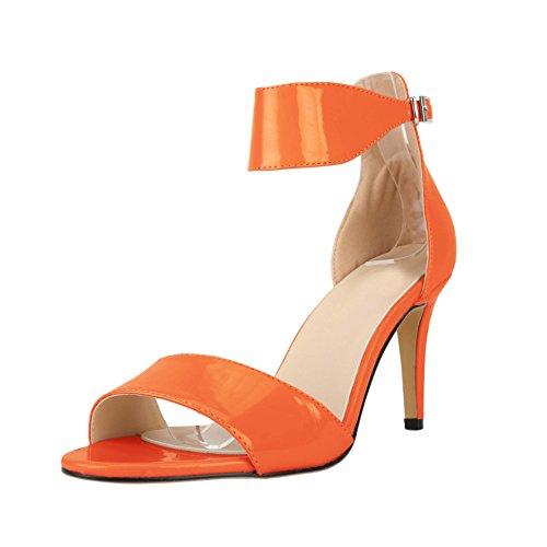 HooH Women's Peep Toe Simple Buckle Stiletto Dress Sandals Orange mj2qwu