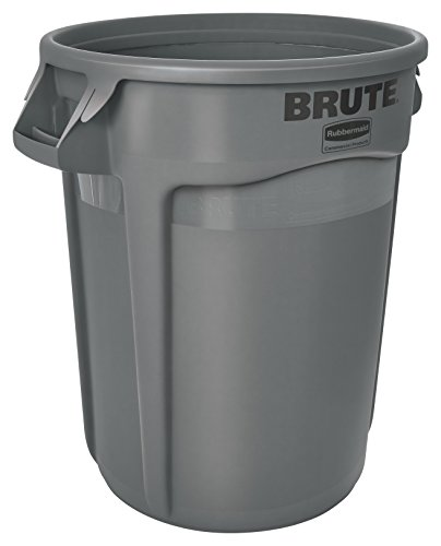 10 Gallon Brute Round Container - Rubbermaid Commercial BRUTE Heavy-Duty Round Waste/Utility Container with Venting Channels, 10-gallon, Gray (FG261000GRAY)