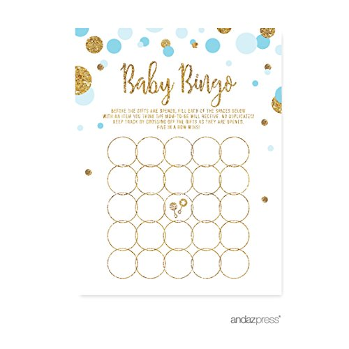 Andaz Press Light Blue Gold Glitter Boy Baby Shower Party Collection, Games, Activities, Decorations, Baby Bingo Game Cards, (Personalized Bingo Games)