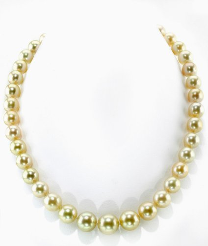 THE PEARL SOURCE 14K Gold 9-12mm Round Genuine Golden South Sea Cultured Pearl Necklace in 17
