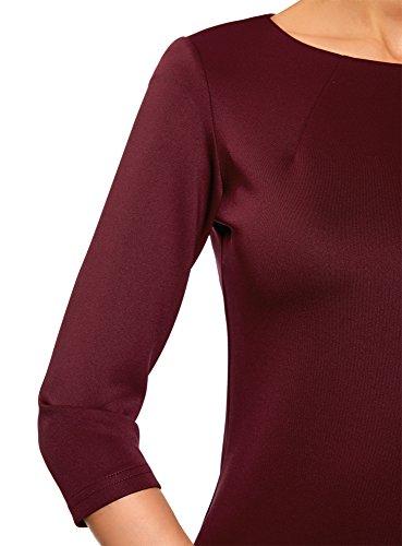 clair Robe 4900n Fermeture Rouge Ultra Femme Moulante oodji U81qw