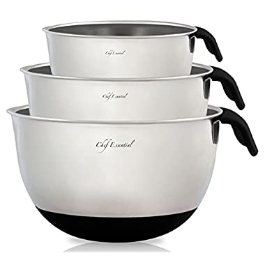 Chef Essential 18/10 Stainless Steel Mixing Bowls Set of 3 with Handle and Spout, Black