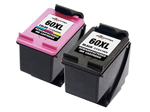 myCartridge Remanufactured HP 60XL Ink Cartridge (1 Black 1 Tri-Color) High Yield CC641WN CC644WN with Ink Level Display