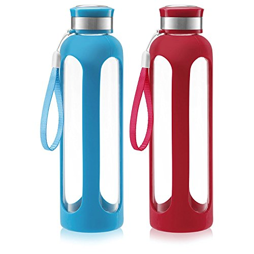 (Swig Savvy Glass Water Bottles with Protective Silicone Sleeve & Stainless Steel Leak Proof Lid - Wide Mouth Reusable Drinking Container - BPA & Plastic Free - 32 oz|Blue & Red - 2 Pack )