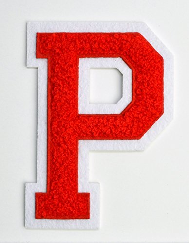 Varsity Letter Patches - Red Embroidered Chenille Letterman Patch - 4 1/2 inch Iron-On Letter Initials (Red, Letter P Patch)