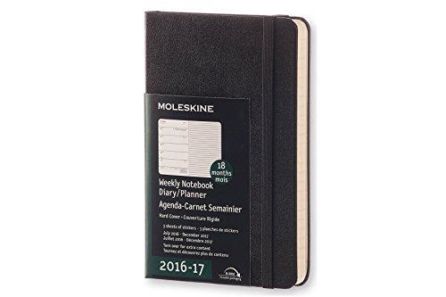 Moleskine 2016-2017 Weekly Notebook, 18M, Pocket, Black, Hard Cover (3.5 x 5.5)