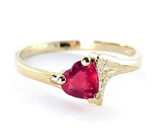 Yellow Solitaire Gold 14k Solid (1 Carat 14K Solid Yellow Gold Solitaire Heart-Shaped Natural Ruby Ring 4340 (6))