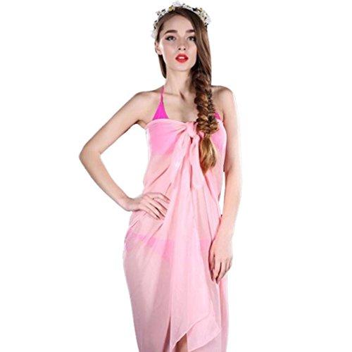 Longra ♣Mujeres de moda playa cubrir hasta falda de gasa Rosado