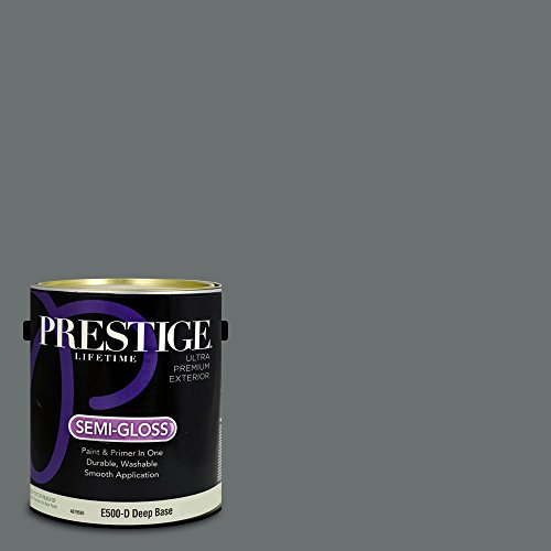 (Prestige Paints Exterior Paint and Primer In One, 1-Gallon, Semi-Gloss,  Comparable Match of Benjamin Moore Gunmetal)