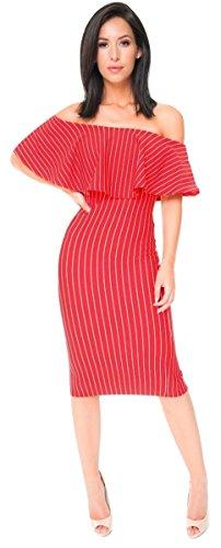 Ladies Stripe Double Layer Off Shoulder Peplum Frill Bardot Midi Dress US Size 4-10 (US 10(UK 14), Red) from Momo&Ayat Fashions