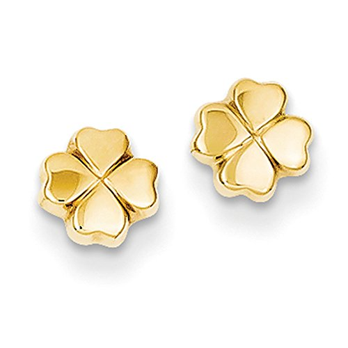 5mm Four Leaf Clover Post Earring in 14k Yellow Gold 14k Yellow Gold Leaf Earrings