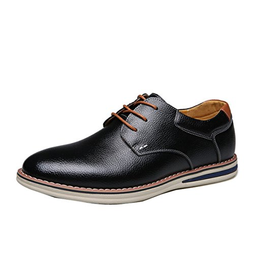 Men Classic European Style Genuine Leather Formal Dress Business Party Shoe Flat Casual Oxford Lace up Black