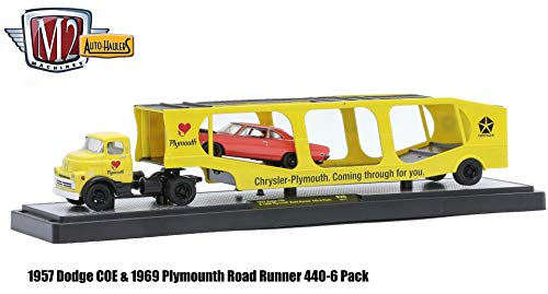 M2 Machines 1957 Dodge COE & 1969 Plymouth Road Runner 440 6-Pack (Barracuda Orange w/Black Hood) Auto-Haulers Release 20 - 2016 Castline 1:64 Scale Die-Cast Vehicle Set (R20 16-17)