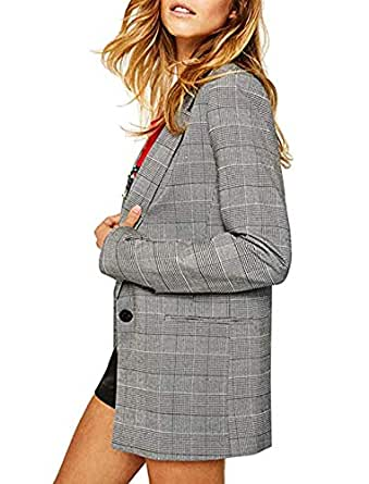 SEBOWEL Grey Blazers for Women Check Plaid Loose Casual Long Sleeve Blazer Jacket Suits L