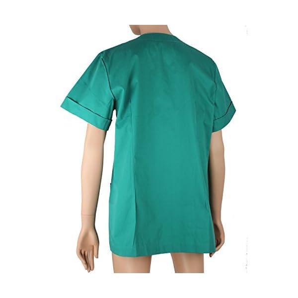 MISEMIYA - Casaca MÉDICA Doctora Enfermera con BOTÓN Cuello Redondo Uniforme Laboral Veterinaria Sanitarios - Ref.831 5