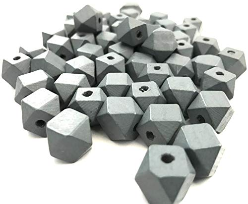 - 50 pcs Gray Octagon Wood Beads 12mm Bead Jewelry Macrame Wooden Tool Square Grey