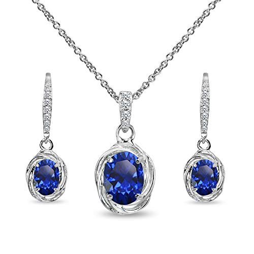 Sterling Silver Created Blue Sapphire & Cubic Zirconia Oval Love Knot Leverback Earrings & Pendant Necklace Set
