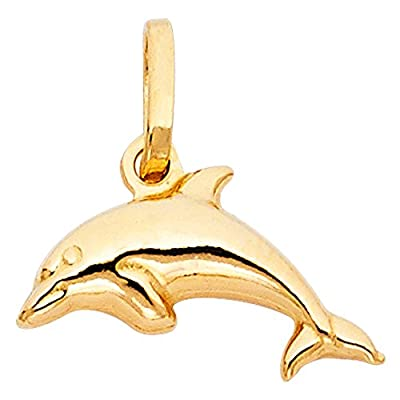 14k Yellow Gold Dolphin Charm Pendant