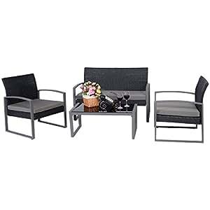 Negro ratán Patio Loveseat sofá juego de muebles de mimbre