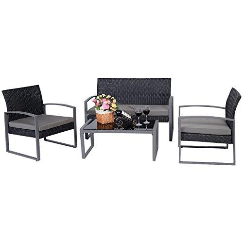 Tangkula 4 PCS Outdoor Patio Garden Black Rattan Wicker Sofa Set Furniture Cushioned (Sofa Wicker Rattan)