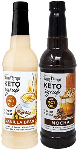 Sugar Free Keto Vanilla Bean and Mocha with MCT Oil 750 ml Bottles (Pack of two) with 2 By The Cup Syrup Pumps