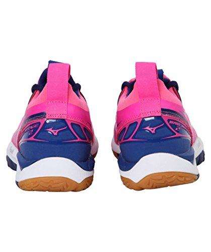 donna per Mirage Scarpe da W bianco Mizuno Wave rosa ginnastica blu 10FqAWax