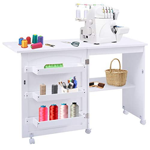Giantex Folding Sewing Craft Table, Sewing Craft Cart with Storage Shelves and Lockable Casters Folding Sewing Table for Apartment Small Spaces (White, 46'x16'x31'')