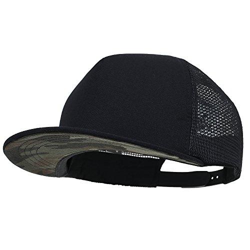 ililily Extra Large Size Solid Color Flat Bill Snapback Hat Blank Baseball Cap (X-Large, Black&Camo) ()