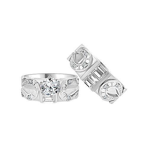 14k White Gold, Trio 3 Piece Wedding Ring Set Horseshoe Created CZ Crystals 1.0ct -