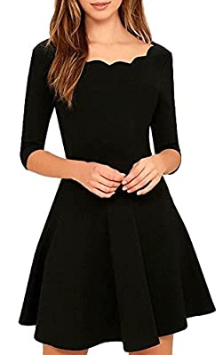 Womens Cute Scallops Neckline Thick Soft Half Sleeves Stretch Little Black Dresses