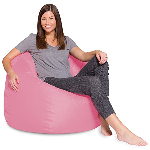 Big Comfy Bean Bag Chair: Posh Large Beanbag Chairs with Removable Cover for Kids, Teens and Adults - Polyester Cloth Puff Sack Lounger Furniture for All Ages - 35 Inch - Solid Pink