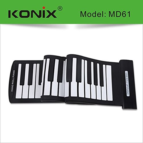 New KONIX USB 61 Key MIDI Flexible Silicone Electronic Roll Up Piano MD61 by Pink Lizard Products (Image #5)