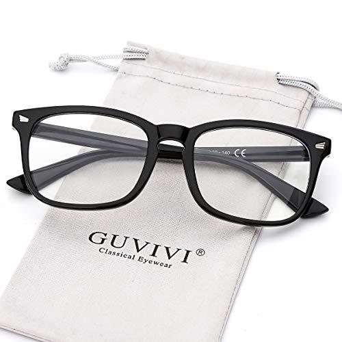 GUVIVI Blue Light Blocking Glasses for Women Vintage Square Frame Computer Eyeglasses (Black)