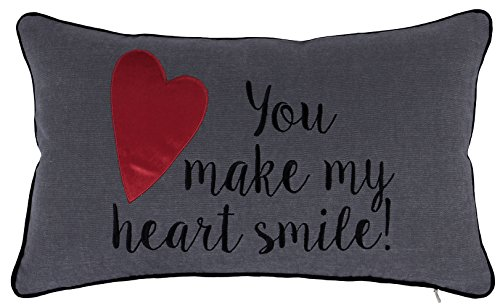 ADecor Pillow Covers You make my heart smile Pillowcase Embroidered Pillow cover Decorative Pillow Standard Cushion Cover Gift Love Couple Wedding P335 (12X20, Heart smile (Embroidered Hearts)