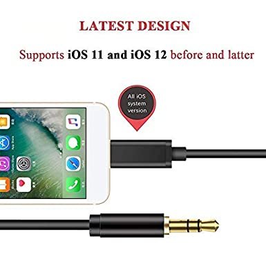 Aux Cable for Phone Black Aux Cable for Car Home//Car Stereos and More Compatible with Phone 7//X//8//8 Plus//XS Max//XR 3.5mm Aux Stereo Audio Cable for Headphones