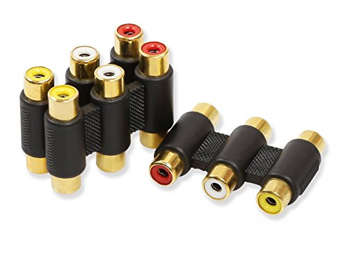 iMBAPrice® (Pack of 3) 3 RCA Jacks to 3 RCA Jacks Coupler White/Red/Yellow - Gold Plated